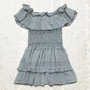 Parker Geometric Ruffle Flounce Blue Pink Dress